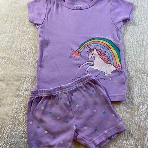 Carters Purple unicorn 12m pj set